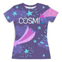 """Футболка с полной запечаткой (женская) """"Cosmic Космик кометы"""" - для девушек, надпись, космос, фиолетовый, со звездами"""