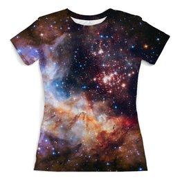 """Футболка с полной запечаткой (женская) """"Hubble"""" - звезды, космос, наука, астрономия, the spaceway"""
