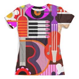 """Футболка с полной запечаткой (женская) """"Музыкальная абстракция"""" - музыка, гитара, дизайн, яркие краски"""