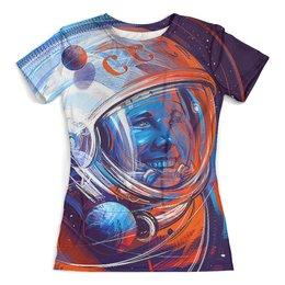 """Футболка с полной запечаткой (женская) """"GAGARIN"""" - космос, гагарин, ракета, космонавт, юрий гагарин"""