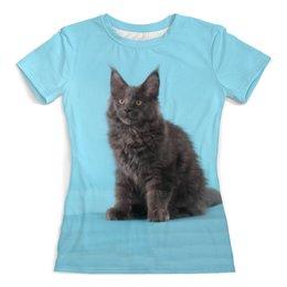 """Футболка с полной запечаткой (женская) """"Мейн кун"""" - кот, кошка, животные, котенок, мейн кун"""