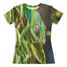 """Футболка с полной запечаткой (женская) """"Хамелеон на дереве"""" - животные, зеленый, природа, ящерица, хамелеон"""