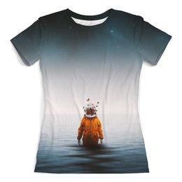 """Футболка с полной запечаткой (женская) """"Space in ocean"""" - бабочки, space, космос, океан, космонавт"""