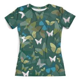 """Футболка с полной запечаткой (женская) """"Бабочки"""" - бабочки, бабочка, насекомые, полет, крылья"""