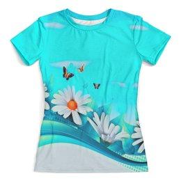 """Футболка с полной запечаткой (женская) """"ромашки"""" - бабочки, цветы, узоры, весна, ромашки"""