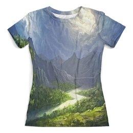"""Футболка с полной запечаткой (женская) """"Пейзаж красками"""" - природа, лес, река, пейзаж, горы"""