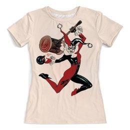 """Футболка с полной запечаткой (женская) """"Харли Квинн / Harley Quinn"""" - комикс, рисунок, кино, харли квинн"""