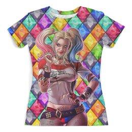 """Футболка с полной запечаткой (женская) """"Harley Quinn Diamonds"""" - алмазы, харли квинн, отряд самоубийц, киноманам, любителям комиксов"""