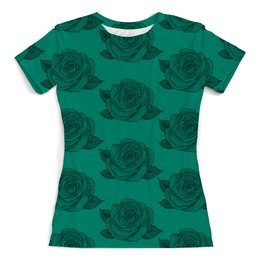 """Футболка с полной запечаткой (женская) """"Узор роз"""" - цветы, узор, весна, природа, розы"""