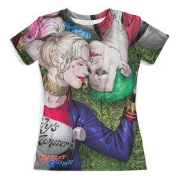 """Футболка с полной запечаткой (женская) """"The Joker&Harley Quinn Design_"""" - джокер, харли квинн, отряд самоубийц, суперзлодеи, любителям комиксов"""