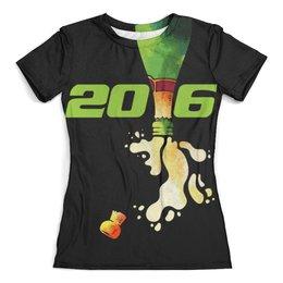"""Футболка с полной запечаткой (женская) """"Море шампанского!"""" - для девушек, новый год, 2016, события, празднуем"""