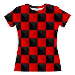 """Футболка с полной запечаткой (женская) """"Красная и Чёрная клетка"""" - дизайн, клетка, красное и чёрное"""