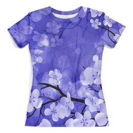 """Футболка с полной запечаткой (женская) """"Весенние цветки"""" - цветы, весна, природа, дерево, цветочки"""