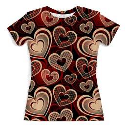 """Футболка с полной запечаткой (женская) """"Сердца"""" - сердце, любовь"""