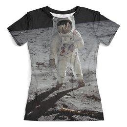 """Футболка с полной запечаткой (женская) """"Космонавт"""" - арт, стиль, космос, абстракция, атронавт"""
