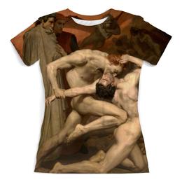 """Футболка с полной запечаткой (женская) """"Данте и Вергилий в Аду (Вильям Бугро)"""" - картина, живопись, бугро, джанни скикки, божественная комедия"""