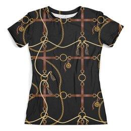 """Футболка с полной запечаткой (женская) """"Baroque Design"""" - жене, золото, женщине, барокко, модницам"""