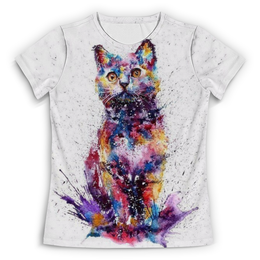 """Футболка с полной запечаткой (Женская) """"Кошачий взгляд"""" - кот, кошка, взгляд, абстракция, разноцветный"""