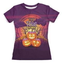 """Футболка с полной запечаткой (женская) """"Halloween"""" - хэллоуин, тыква, мистика, гадость или сладость"""