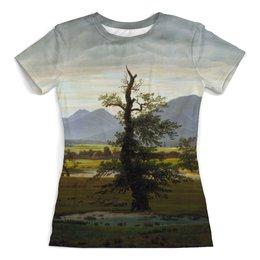 """Футболка с полной запечаткой (женская) """"Одинокое дерево (Каспар Давид Фридрих)"""" - картина, фридрих"""
