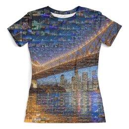 """Футболка с полной запечаткой (женская) """"Брисбен город"""" - город, коллаж, путешествие, австралия, география"""