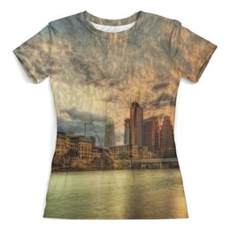 """Футболка с полной запечаткой (женская) """"New York"""" - new york, страны, города, природа, закат"""