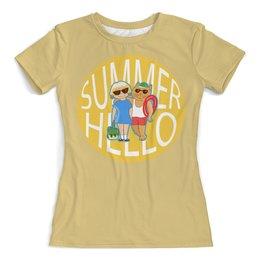 """Футболка с полной запечаткой (женская) """"Hello summer"""" - лето, отдых, отпуск, на море"""