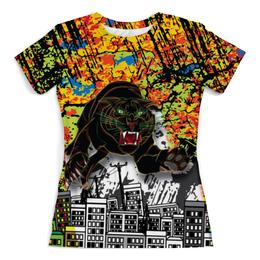 """Футболка с полной запечаткой (Женская) """"Черный Тигр"""" - кот, черный, город, тигр, black star"""