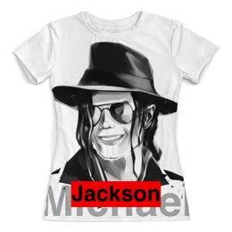 """Футболка с полной запечаткой (женская) """"Майкл Джексон"""" - майкл джексон, michael jackson, музыканты, поп-музыка"""