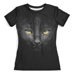 """Футболка с полной запечаткой (женская) """"Черный кот"""" - кот, кошка, животные, котенок, мордочка"""