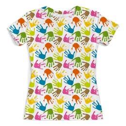 """Футболка с полной запечаткой (женская) """"Happy Hands"""" - радуга, happy, rainbow, hands, ладони"""