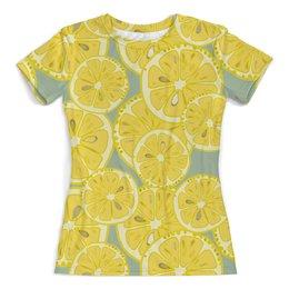 """Футболка с полной запечаткой (женская) """"лимоны"""" - лето, фрукты, лимон, лимоны, цитрусовые"""