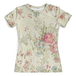 """Футболка с полной запечаткой (женская) """"Винтаж"""" - цветы, винтаж, пионы, розы"""