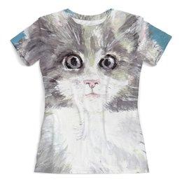 """Футболка с полной запечаткой (женская) """"Кошачий взгляд"""" - кот, кошка, взгляд, подарок, зверь"""