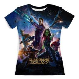 """Футболка с полной запечаткой (женская) """"Guardians_of_the_Galaxy"""" - фантастика, стражи галактики, реактивный енот, марвел комиксы"""