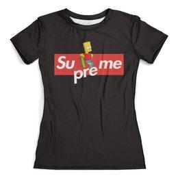 """Футболка с полной запечаткой (женская) """"Supreme"""" - надписи, мульт, симпсоны, суприм, supreme"""