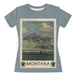 """Футболка с полной запечаткой (женская) """"Монтана"""" - ретро, америка, винтаж, постер"""
