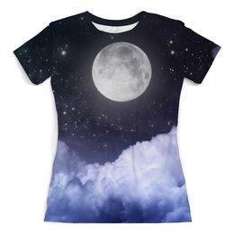 """Футболка с полной запечаткой (женская) """"Ночь и луна"""" - космос, ночь, небо, облака, луна"""