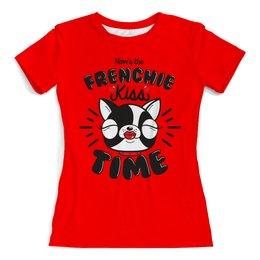 """Футболка с полной запечаткой (женская) """"Французский бульдог"""" - сердце, собака, сердечки, бульдог, год собаки"""