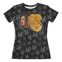 """Футболка с полной запечаткой (женская) """"Bob Marley&Lion"""" - жене, боб марли, марихуана, меломанам, рэги"""