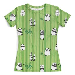 """Футболка с полной запечаткой (женская) """"Панды"""" - панда, панды, растения, животные, бамбук"""