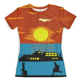 """Футболка с полной запечаткой (женская) """"Ждать и догонять"""" - закат, море, силуэты, корабль, двое"""