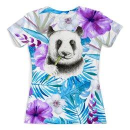 """Футболка с полной запечаткой (женская) """"Панда и цветы"""" - цветы, животные, панда, природа, перья"""