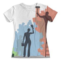 """Футболка с полной запечаткой (женская) """"Стиль и мода"""" - арт, работа, труд, семья, авангард"""