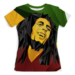 """Футболка с полной запечаткой (женская) """"Bob Marley"""" - регги, ямайка, боб марли, bob marley"""