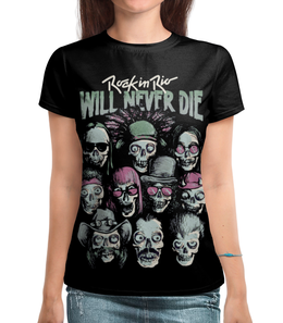 """Футболка с полной запечаткой (Женская) """"Rock in Rio - фестиваль рок музыки"""" - skull, череп, heavy metal, рок музыка, хеви метал"""