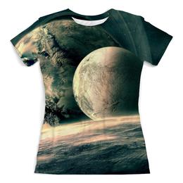 """Футболка с полной запечаткой (женская) """"Космическое путешествие"""" - звезды, космос, вселенная, одежда космос"""