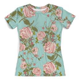 """Футболка с полной запечаткой (женская) """"Розочки"""" - цветы, роза, розочки, бабочки"""
