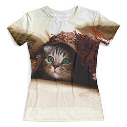 """Футболка с полной запечаткой (женская) """"Котик"""" - кот, кошка, животные, котенок"""