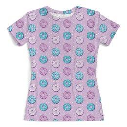 """Футболка с полной запечаткой (женская) """"Поп арт дизайн. Пончики паттерн"""" - молодежный, розовый, стильный, модный, попарт"""